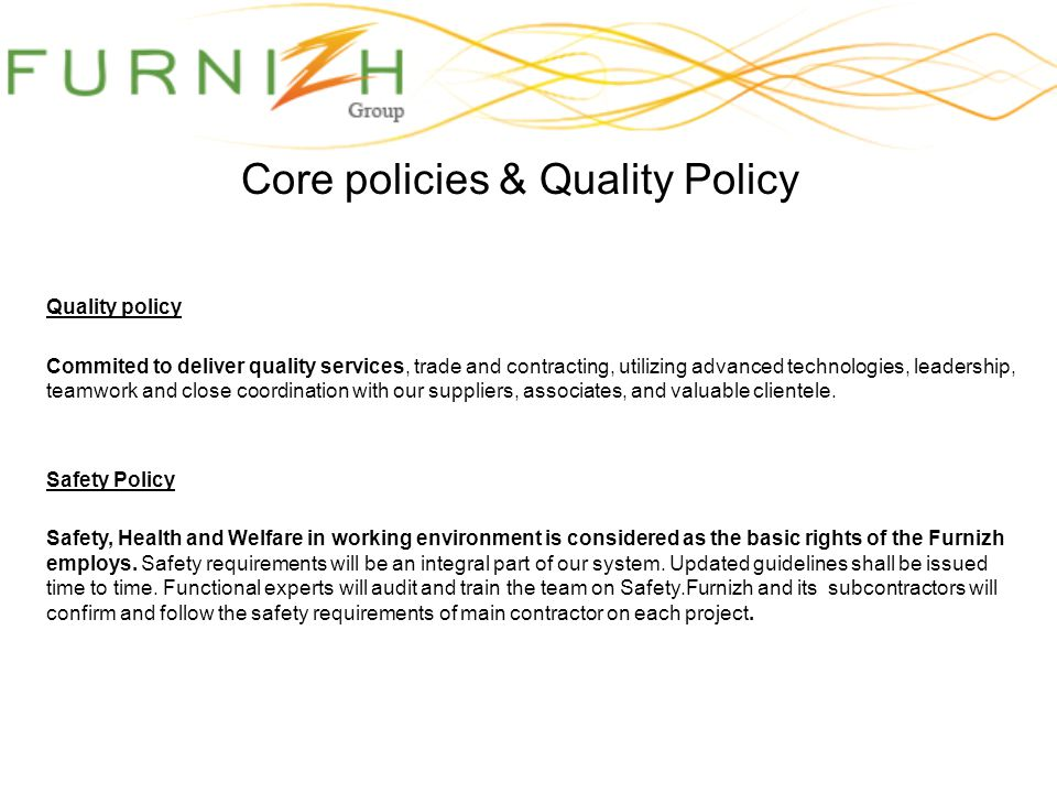 Core policies & Quality Policy