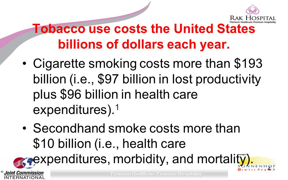 Tobacco use costs the United States billions of dollars each year.