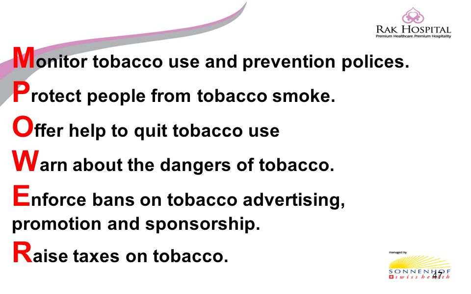 Monitor tobacco use and prevention polices