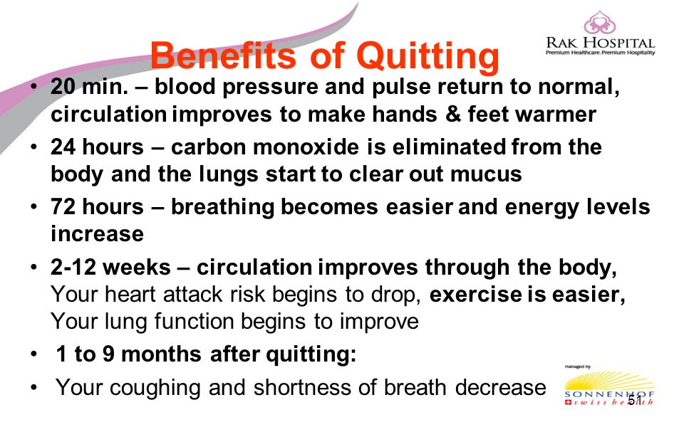 Benefits of Quitting 20 min. – blood pressure and pulse return to normal, circulation improves to make hands & feet warmer.