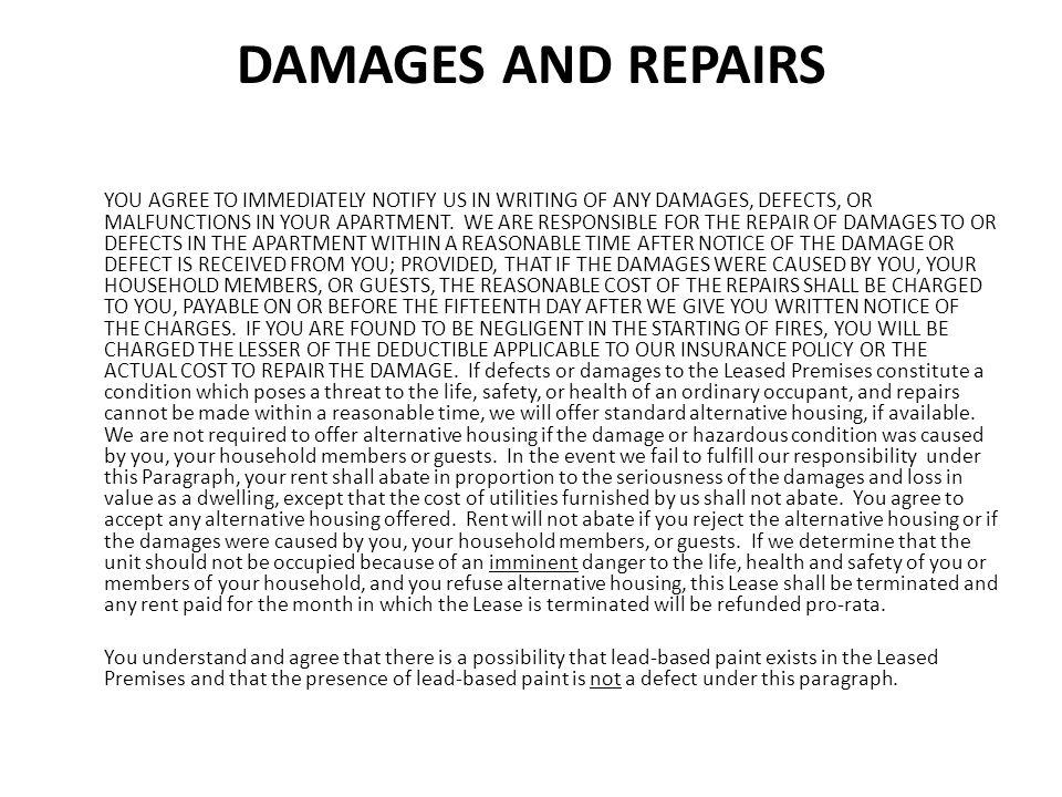 DAMAGES AND REPAIRS