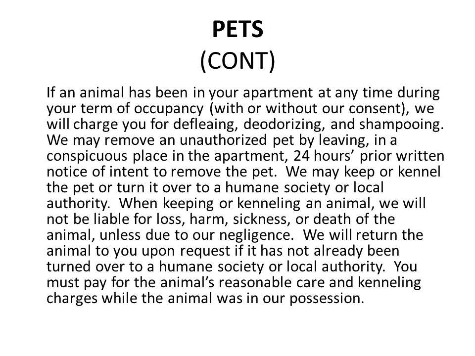 PETS (CONT)