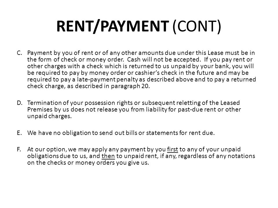 RENT/PAYMENT (CONT)