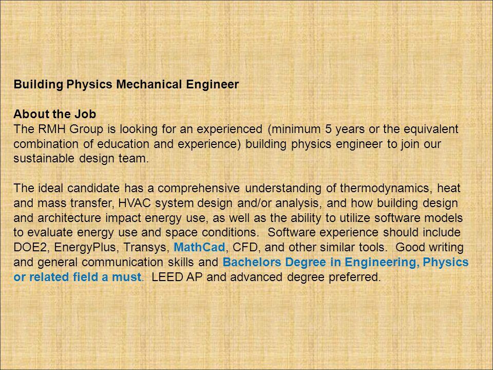 Building Physics Mechanical Engineer