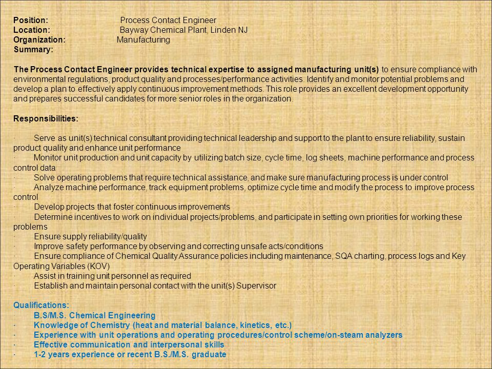 Position: Process Contact Engineer