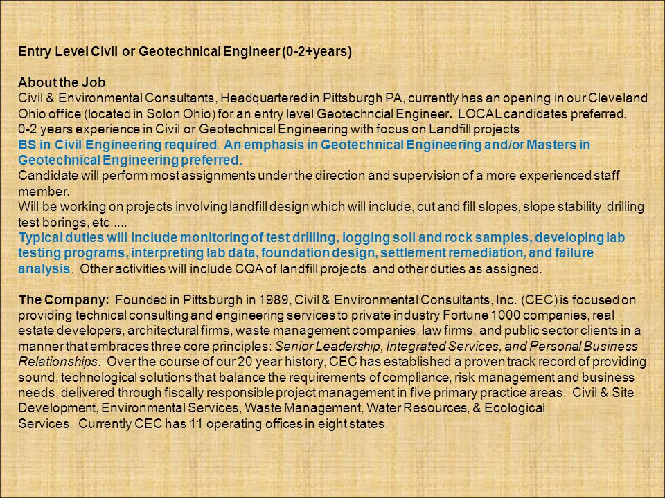Entry Level Civil or Geotechnical Engineer (0-2+years)