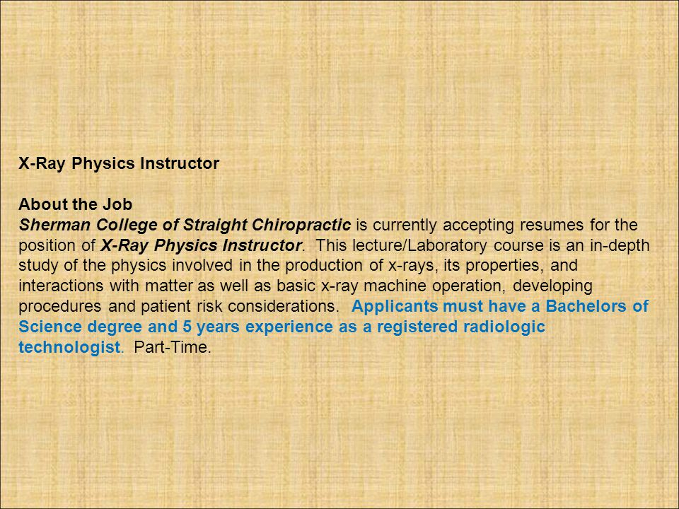 X-Ray Physics Instructor