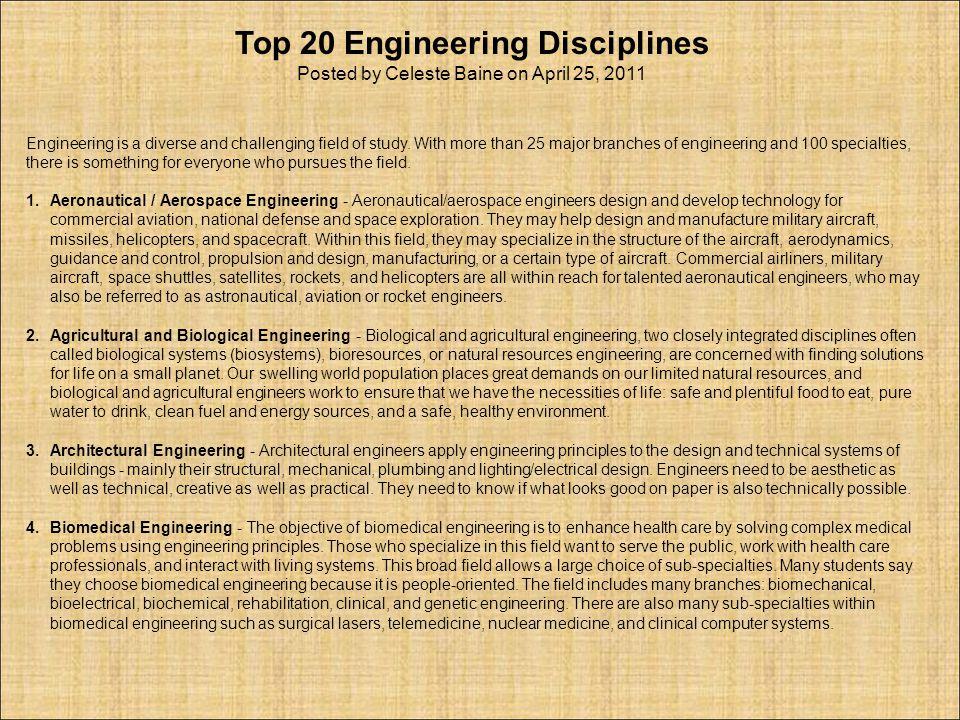 Top 20 Engineering Disciplines