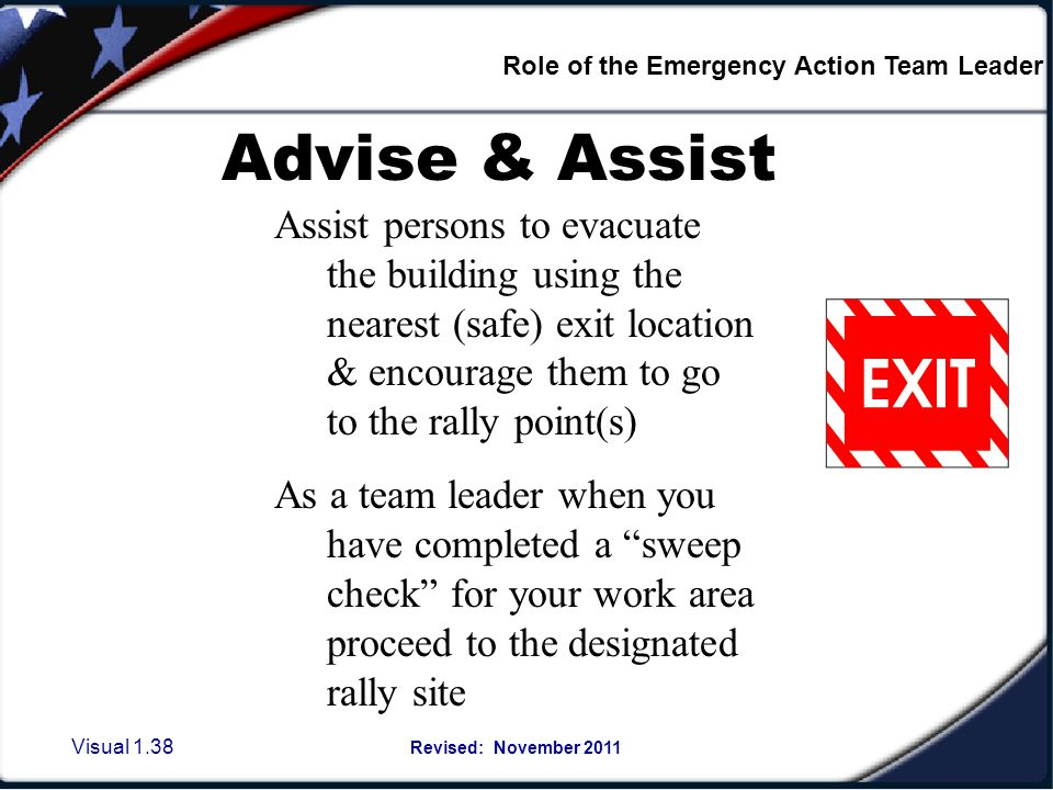 What is a Sweep check It is: Role of the Emergency Action Team Leader