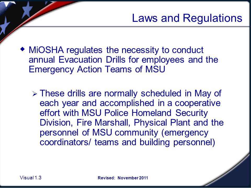 Standards and keeping MSU safe