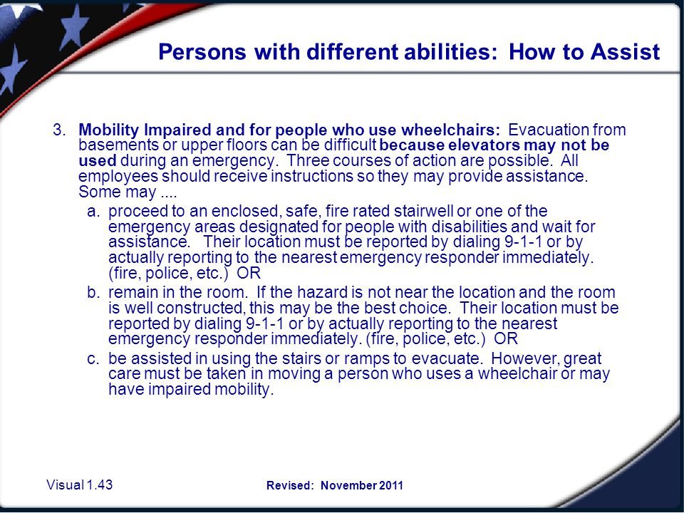 Assisting others with special needs