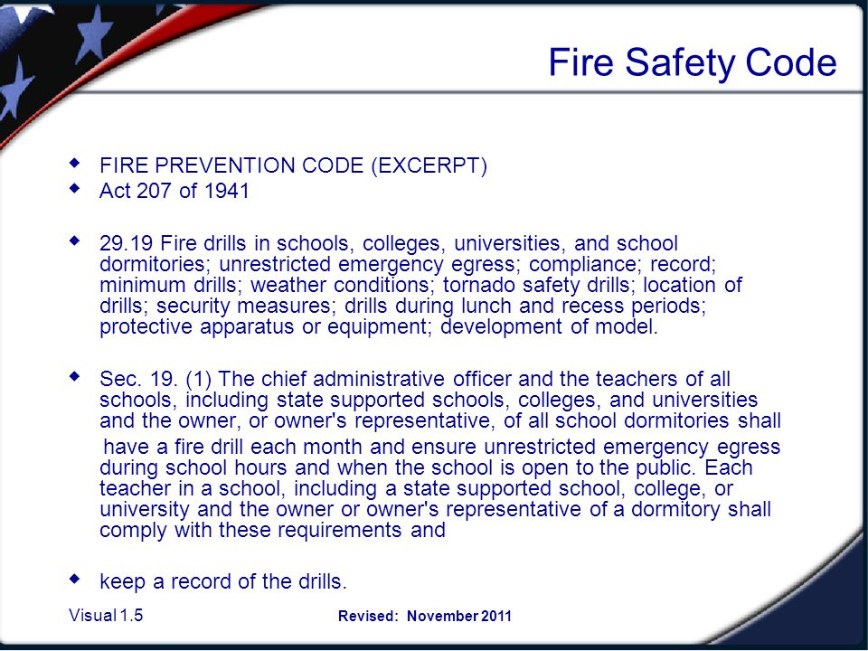 Fire Safety Code, Act 207