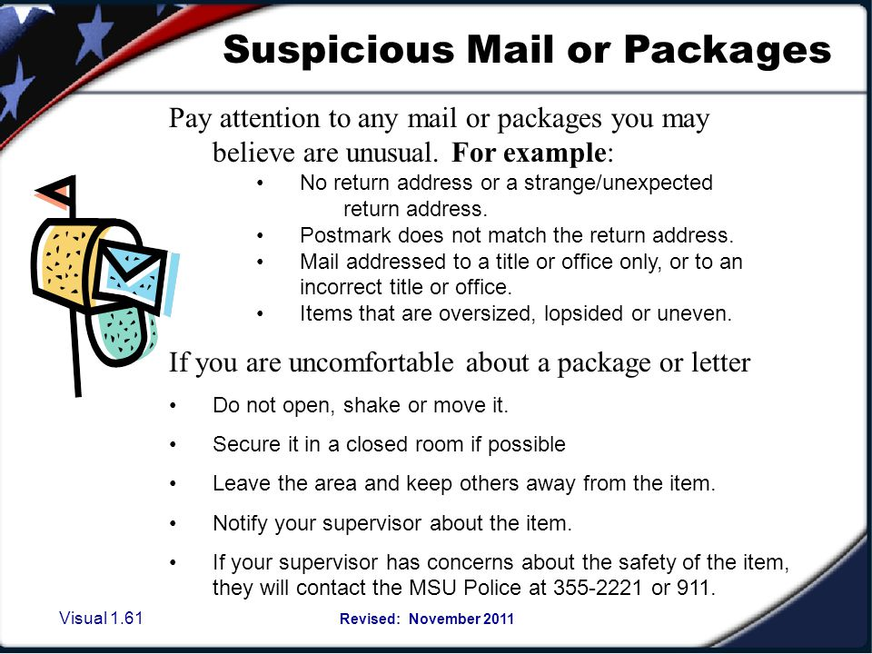 Suspicious Mail or Packages
