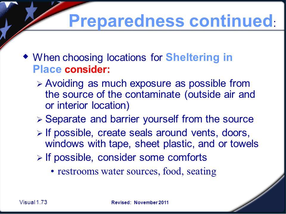 Preparedness in Sheltering