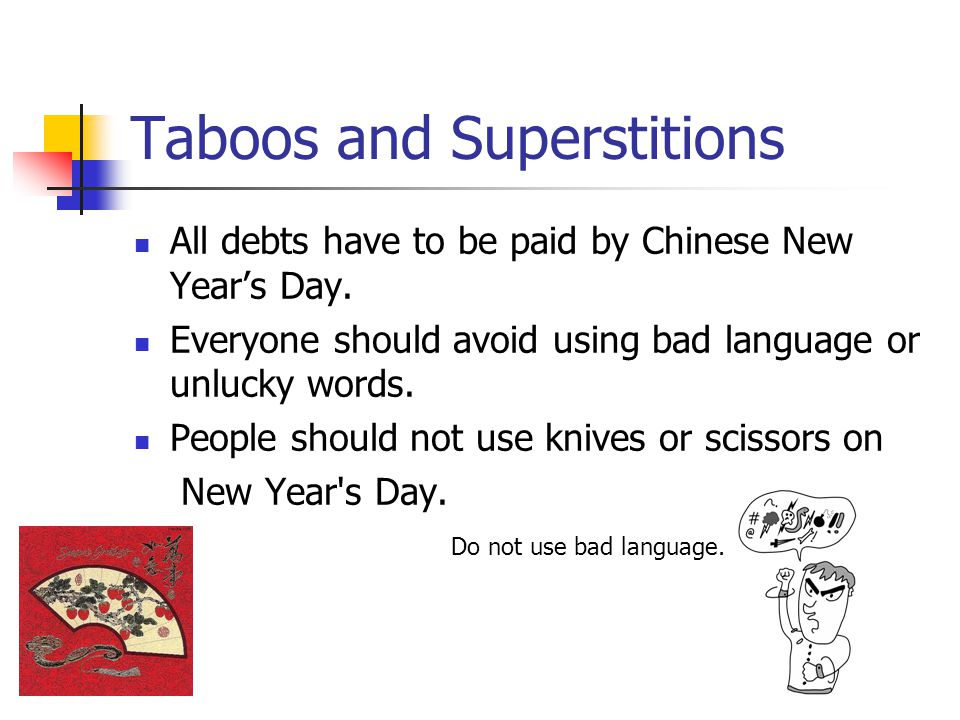 Taboos and Superstitions