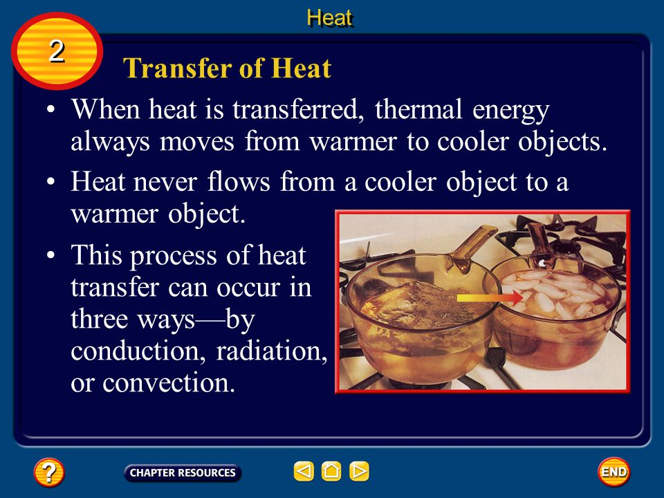 Heat never flows from a cooler object to a warmer object.