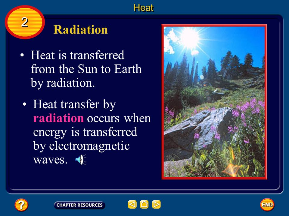 Heat is transferred from the Sun to Earth by radiation.