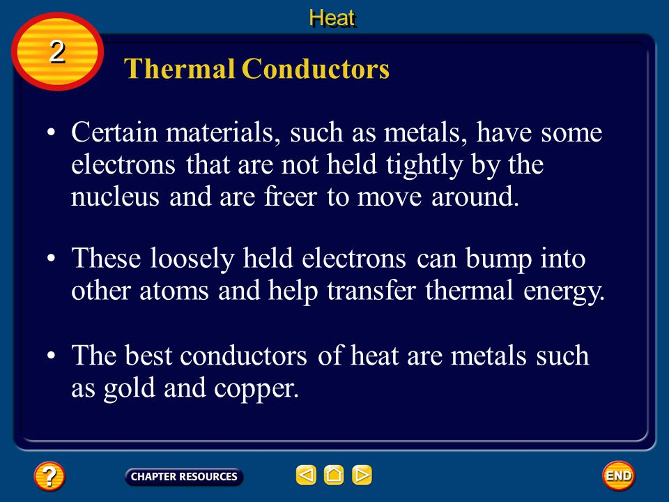 The best conductors of heat are metals such as gold and copper.