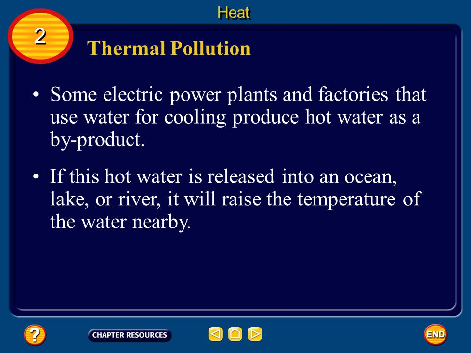 Heat 2. Thermal Pollution. Some electric power plants and factories that use water for cooling produce hot water as a by-product.