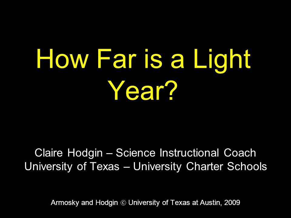 How Far is a Light Year Claire Hodgin – Science Instructional Coach
