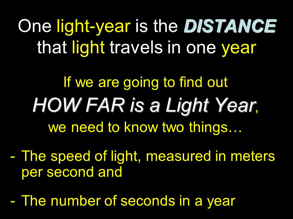 One light-year is the DISTANCE that light travels in one year