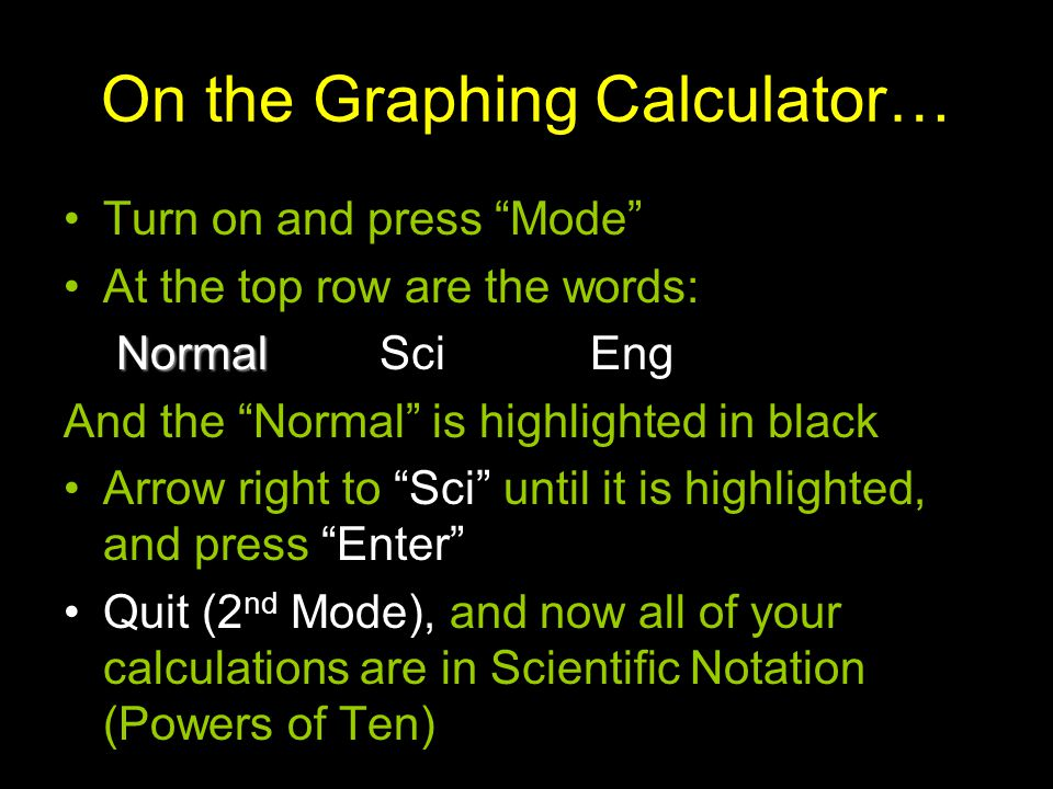 On the Graphing Calculator…