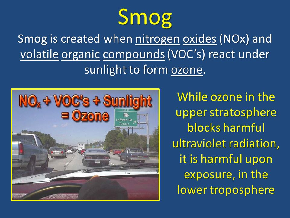 Smog Smog is created when nitrogen oxides (NOx) and volatile organic compounds (VOC's) react under sunlight to form ozone.