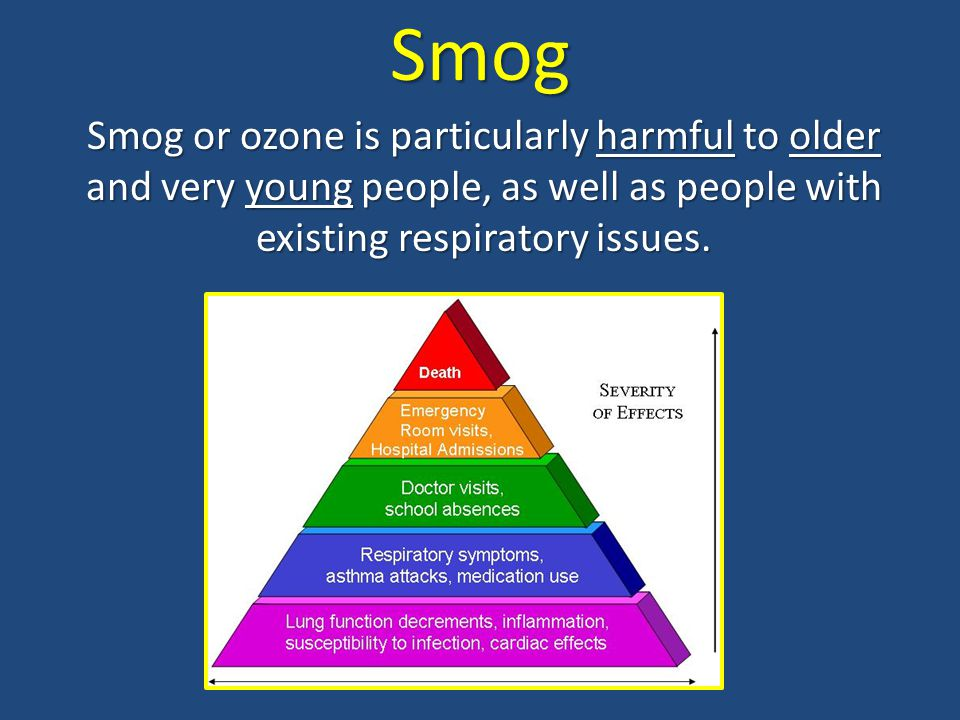 Smog Smog or ozone is particularly harmful to older and very young people, as well as people with existing respiratory issues.