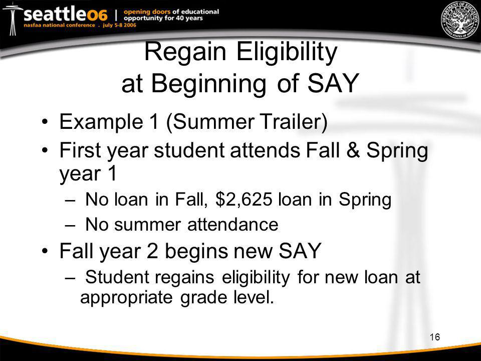 Regain Eligibility at Beginning of SAY