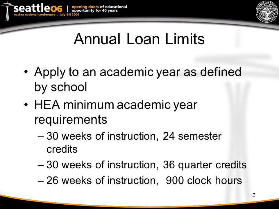Annual Loan Limits Apply to an academic year as defined by school