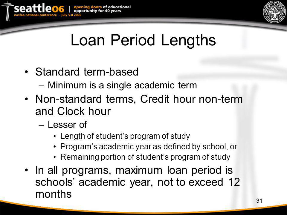 Loan Period Lengths Standard term-based