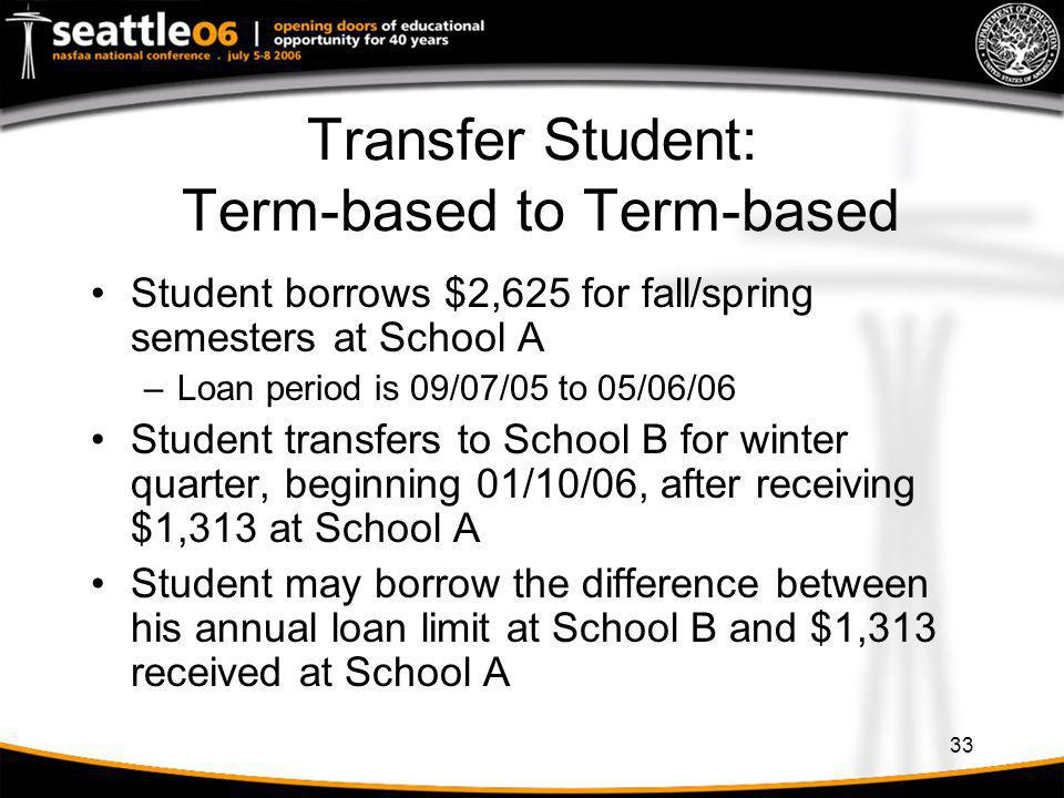 Transfer Student: Term-based to Term-based