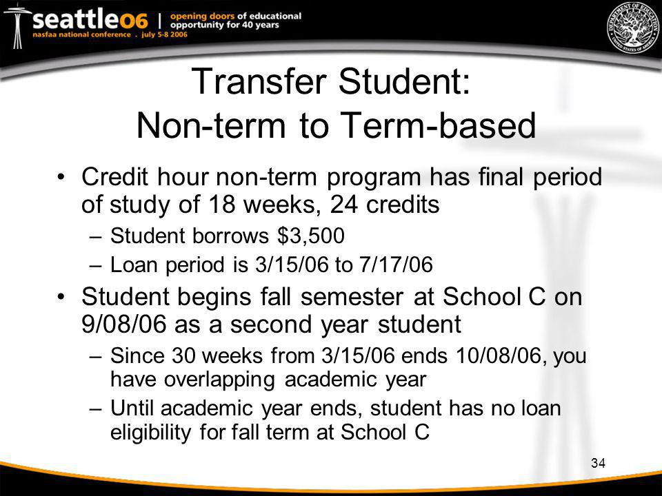 Transfer Student: Non-term to Term-based