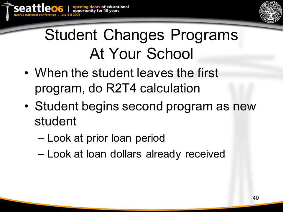 Student Changes Programs At Your School
