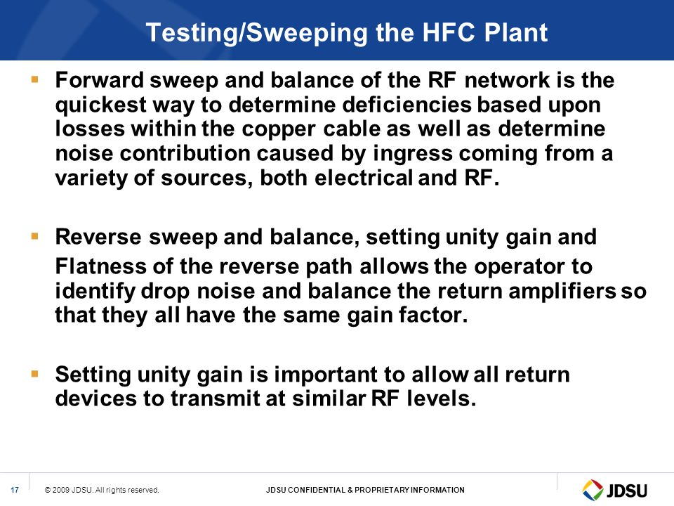 Testing/Sweeping the HFC Plant