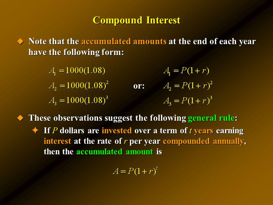 Compound Interest Note that the accumulated amounts at the end of each year have the following form: