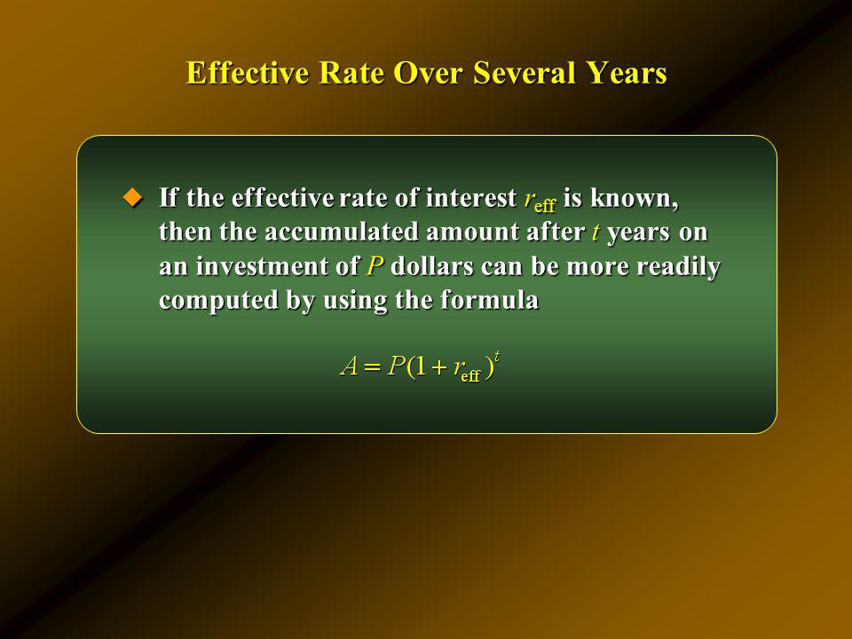 Effective Rate Over Several Years