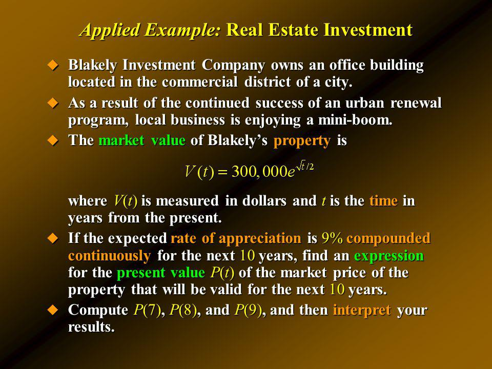 Applied Example: Real Estate Investment