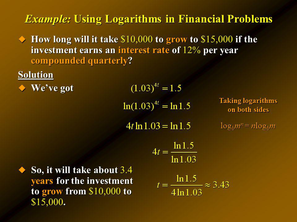 Example: Using Logarithms in Financial Problems