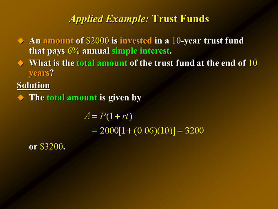 Applied Example: Trust Funds