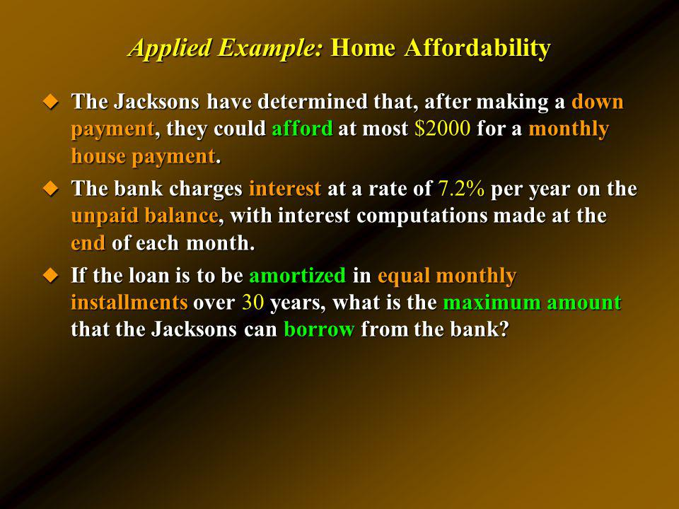 Applied Example: Home Affordability