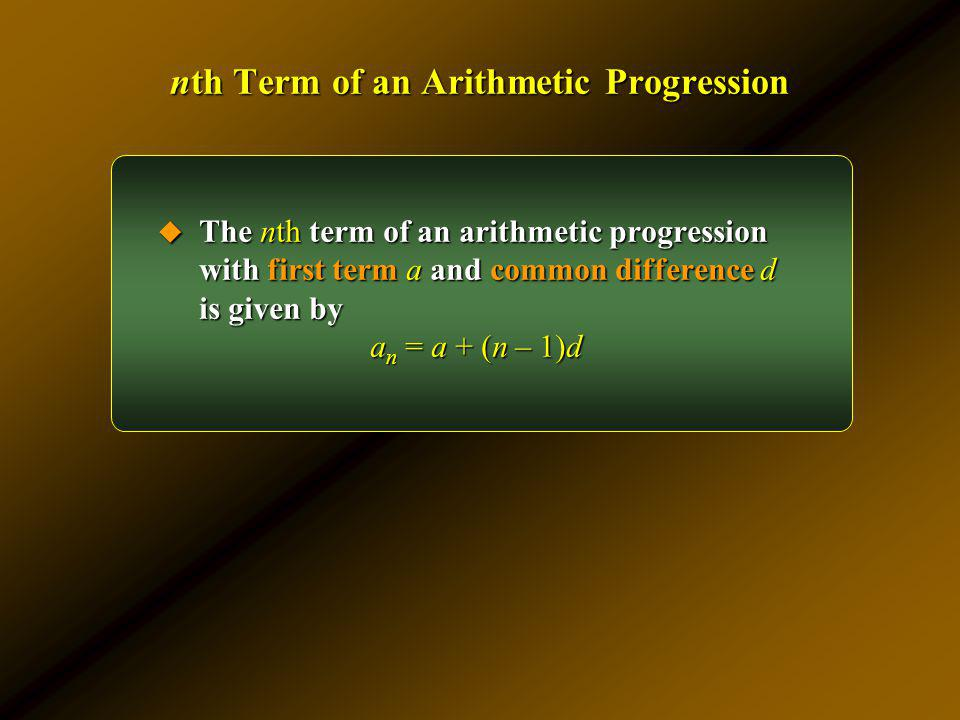 nth Term of an Arithmetic Progression