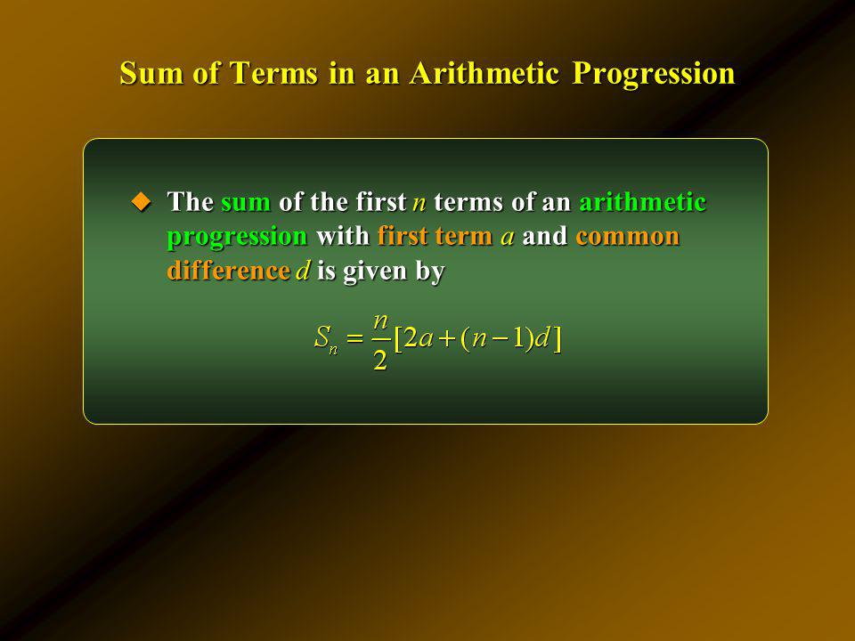 Sum of Terms in an Arithmetic Progression