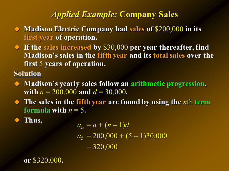 Applied Example: Company Sales