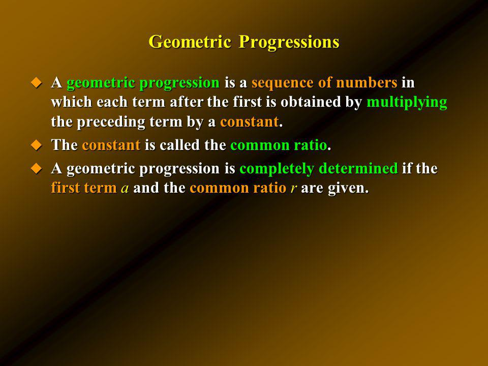 Geometric Progressions