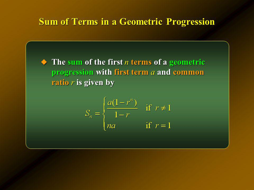 Sum of Terms in a Geometric Progression
