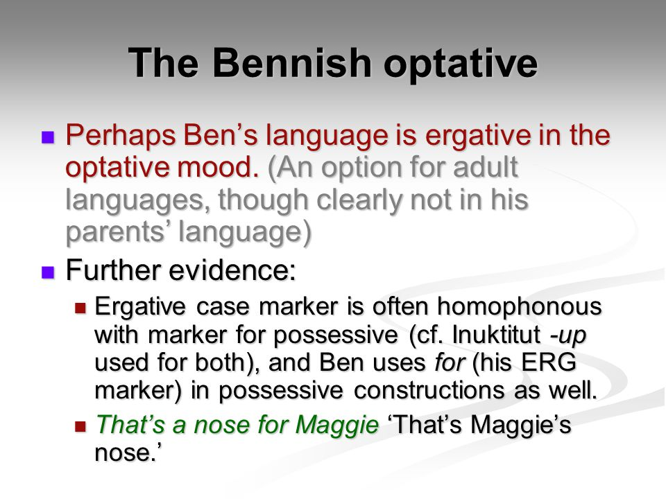 The Bennish optative