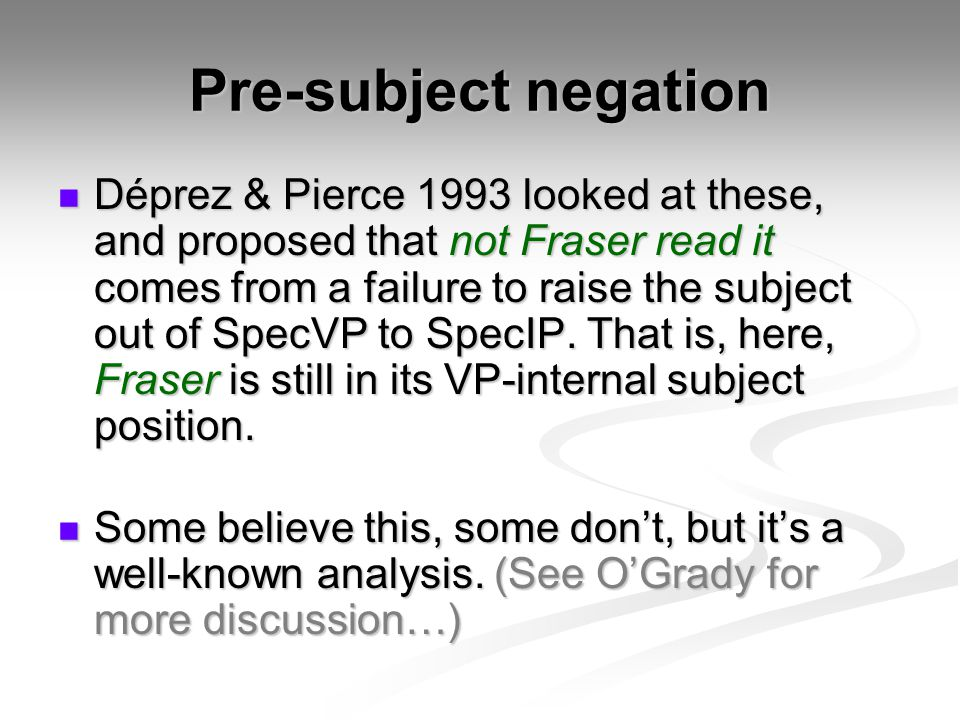 Pre-subject negation