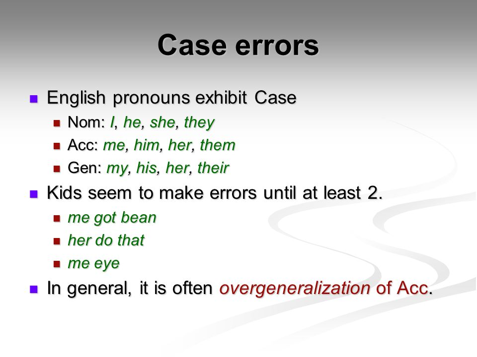 Case errors English pronouns exhibit Case