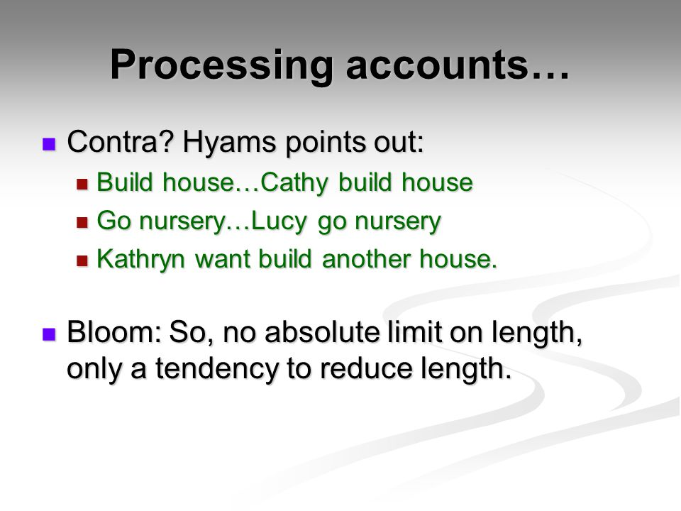 Processing accounts… Contra Hyams points out: